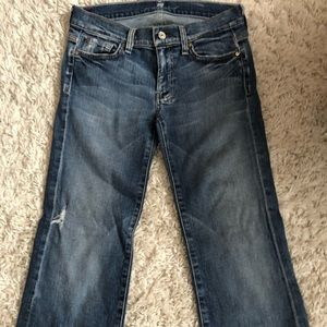 7 for all man kind flare crop jeans
